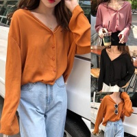 TERMURAHHH!!!! Casual Blouse with V-Neck and Button Up
