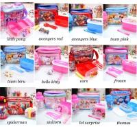 set bekal anak sekolah / tempat makan cars / kotak makan little pony