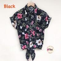 Baju pantai ikat / atasan summer bunga floral blouse satin murah korea