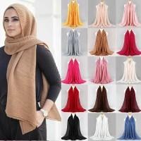 Hijab kerudung premium pashmina katun model kerut jilban syal crinkle