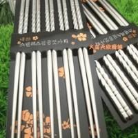 Sumpit Vakum Stainless Steel Dengan Motif Ulir (1 Set Isi 5)