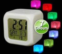 Moody Clock / Jam Kubus Polos 7 Warna / Digital Alarm Clock