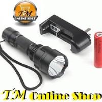 Senter Flashlight C8 Police Cree Q5 Fokus 3 Mode Nyala / Cahaya / Sinar Putih