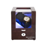 BillStone Avanti - 1 Watch Winder - Burl Wood Finish / Grey Suede