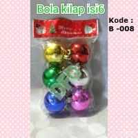 Aksesoris Natal ( Bola Natal Campur isi 6: 4 cm ) ( Kode : B-008)