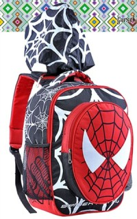 Tas Sekolah Anak / Tas Anak Laki Laki Motif Spiderman Bertopi GYN 4633