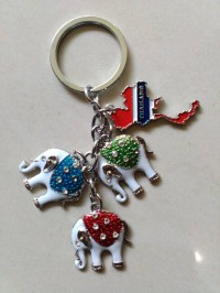 Gantungan kunci gajah peta souvenir negara Thailand