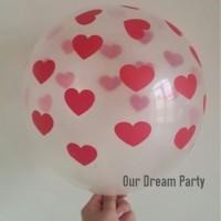 Balon Transparan sablon Hati