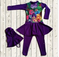 Swimsuit Baju Renang Anak Perempuan Muslimah Muslim - Poeny Purple