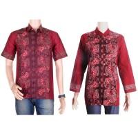 Sarimbit/couple Batik Kemeja-blus Sabrina (Sepasang) - Merah