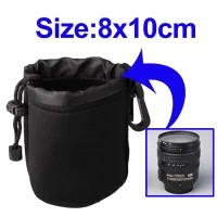 Neoprene SLR Camera Lens Carrying Bag Pouch Medium with Clip(8x10cm)