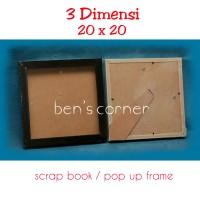 frame foto 3 dimensi uk.20x20 ( scrapbook/ pop up frame) - black