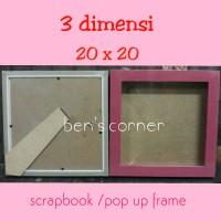 frame foto/bingkai foto 3 dimensi uk.20x20 / scrap book /pop up frame