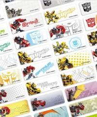 Transformer Sticker Label Ukuran Small Isi 60 . Stiker karakter Optimus Bumblebee . Nama anak di buku , tas , sekolah , hadiah