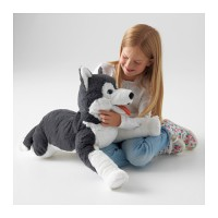 IKEA LIVLIG, Boneka anjing husky, panjang 60cm, Nyaman untuk dipeluk