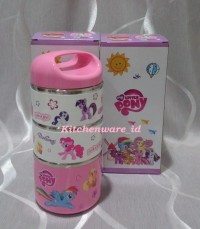 New LITTLE PONY 3 Layer Lunch Box Rantang Karakter Putar Susun 3