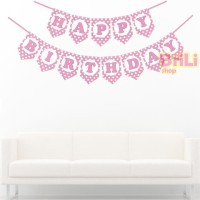 Banner Flag Happy Birthday Pink Polkadot | Bunting | Party Flag HBD
