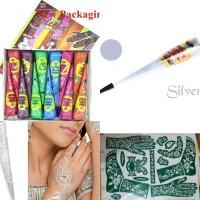 Paket Henna Gold Series Mix Warna +Free Cetakan & Silver Glitter