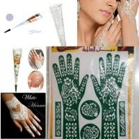 Paket Hemat Henna Silvery White +Free Cetakan Mahendi