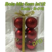 Aksesoris Natal / Ornamen Natal Bola Natal Mix Isi 12 Red Uk : 5 cm