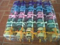 souvenir pernikahan - saputangan handuk kecil gulung mini coklat