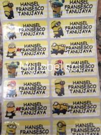 Label Nama Stiker Waterproof Sticker Despicable Me Minion Minions SML