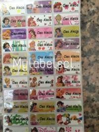 Label Nama Stiker Waterproof Sticker anti air Princess Disney Bunga ML