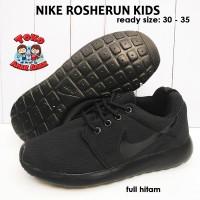 sepatu nike rosherun anak import - full hitam / sepatu anak