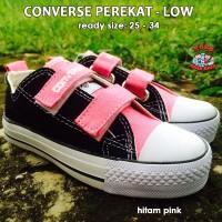 sepatu converse anak low perekat - hitam pink