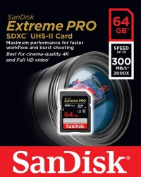 SanDisk Extreme PRO 64GB (read up to 300MB/s,W:260mb/s) UHS-II U3 SDXC