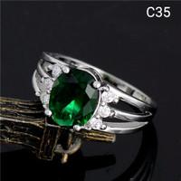 Cincin Silver 925 Lapis Emas Batu Cubic Zirconia Emerald Green C35