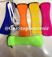 alat makan portable (sendok garpu sumpit) free pouch MURAH!