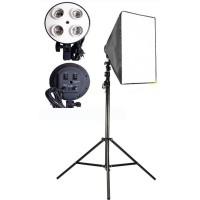 PAKET SOFTBOX E27 4 Socket Lamp Holder + Tiang