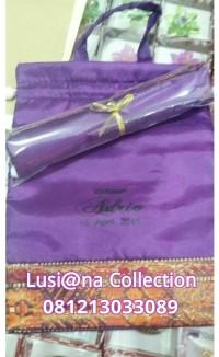 sablon nama+plastik+souvenir pernikahan tas yasin/kantong serut besar
