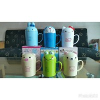 Gelas minum melamin Doraemon, Hello kitty, Keropi, Rabbit, Pig, Dear