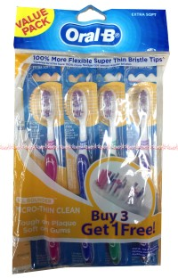 Sikat Gigi Oral B Value Pack Sikat Gigi OralB Super thin Buy 3 Get 1