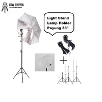 LIGHT STAND+PAYUNG PUTIH+SINGLE LAMP HOLDER