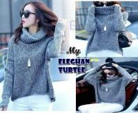 Elegan Turtleneck Sweater blouse high turtle neck gray abu kpop korea