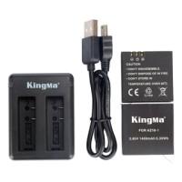 Paket Dual Charger Kingma + 2 Battery / Baterai for Xiaomi Yi 2 4K