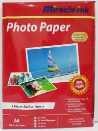 Kertas foto 130gr A4 stiker glossy photo paper Miracle