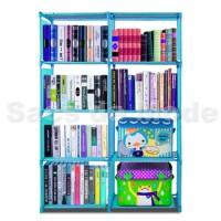 Rak Buku Portable / Lemari Serbaguna Multifungsi 4 Susun 2 Sisi
