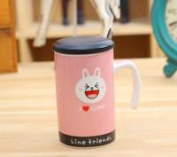 Ceramic mug cangkir dan sendok minum teh kopi karakter LINE - HKN210