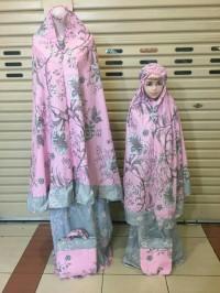 mukena couple terbaru katun jepang flower pink