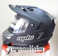 MDS Helm Super PRO Black Doff FullFace Ringan SuperMoto Hitam Dop