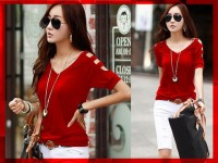 [V-neck Karen CL] blouse wanita spandex merah
