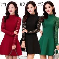 210 - Lace Dress Pesta Wanita Lengan Panjang Korea