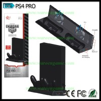 PS4 PRO USB HUB+Dual Fan Cooling Cooler+Charging Dock+Vertical Stand