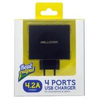 Adaptor Wellcomm USB 4 Port 4.2A 4 Slot Travel Charger