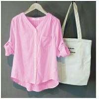 [Momon stripe pink RO] blouse wanita katun pink