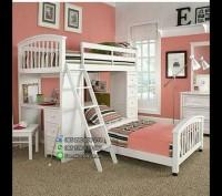 Tempat Tidur Minimalis Tingkat Duco Putih untuk Anak Perempuan.